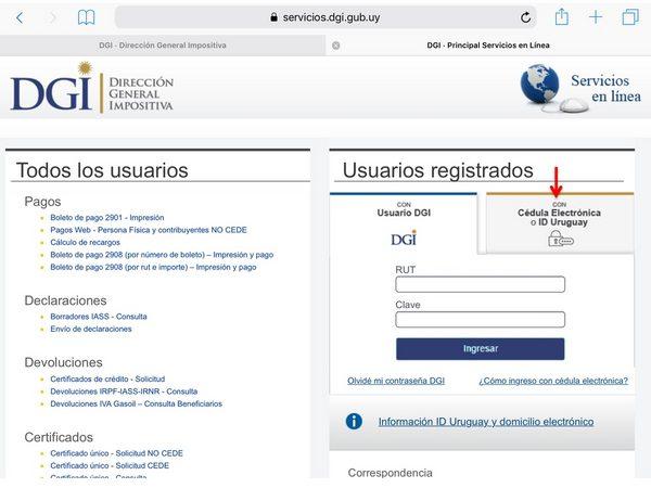 DGI Servicio en línea